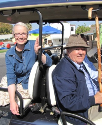 on golf cart