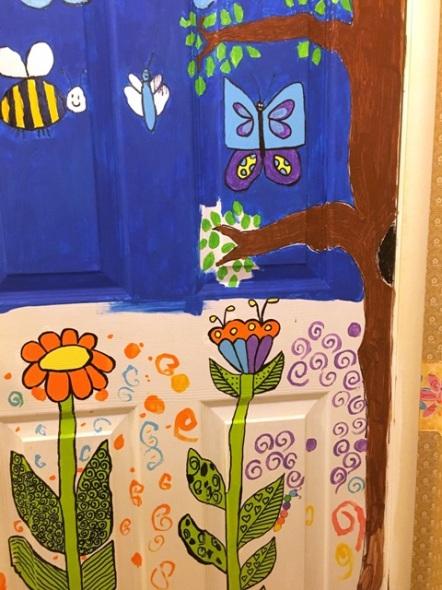 bathroom door flowera