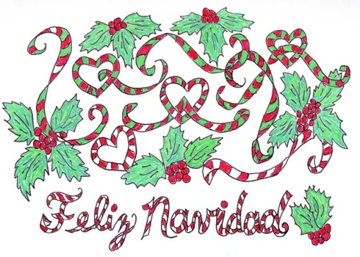 lettering feliz navidad