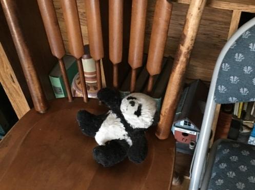 panda on wood chair