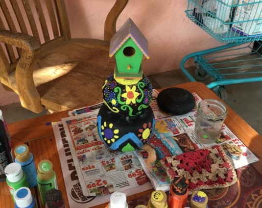 trying out birdhouse