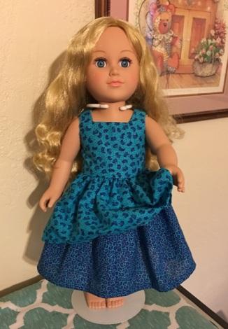 blue dress ruffle