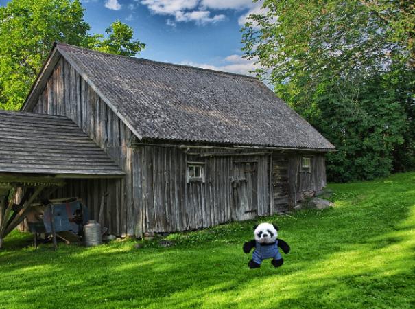 panda with gray barn sm