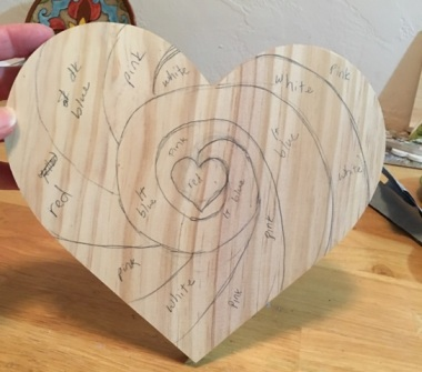 drawing on heart
