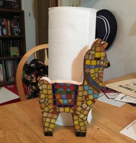 llama by paper towels